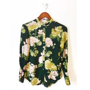 H&M | mandarin collar floral button down | 2